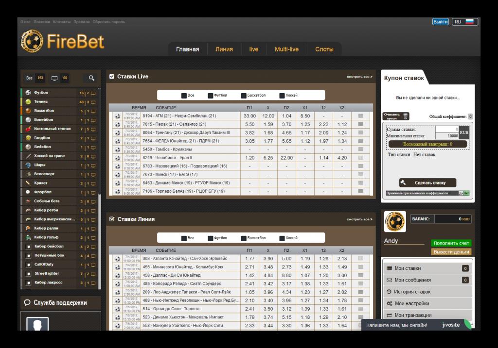 Fire bet. Интерфейс официального сайта