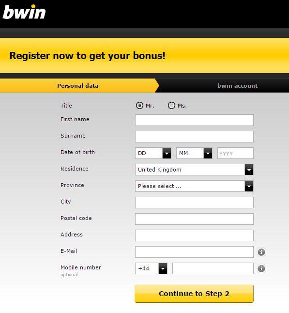 Форма для регистрации на сайте букмекерской конторы